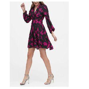 NWT BanRep Puff Sleeve Dress 12T Black Floral D343